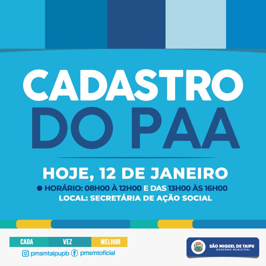 CADASTRO DO PAA - AÇÃO SOCIAL