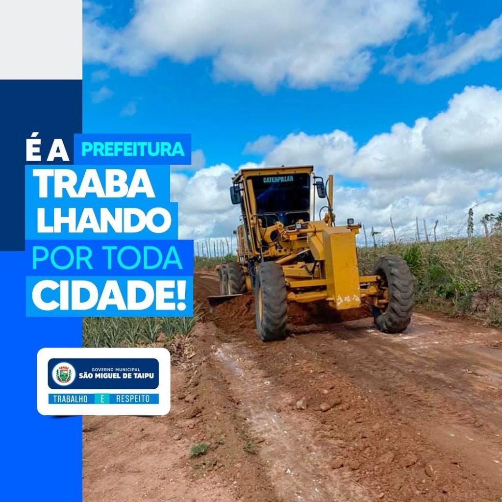 A prefeitura de São Miguel de Taipu dar continuidade aos trabalhos de manutenção das estradas da zona rural