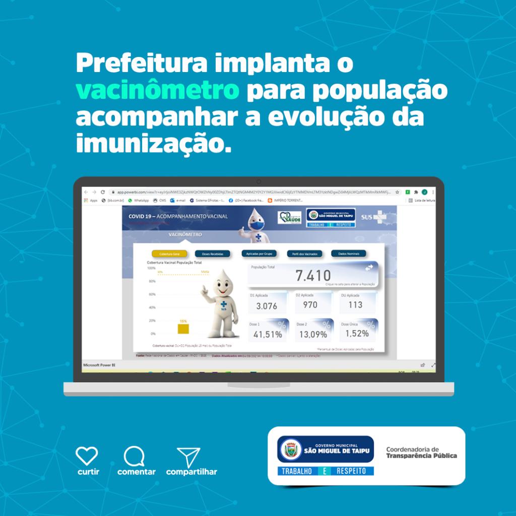Prefeitura implanta o vacinômetro para população acompanhar a evolução da imunização.